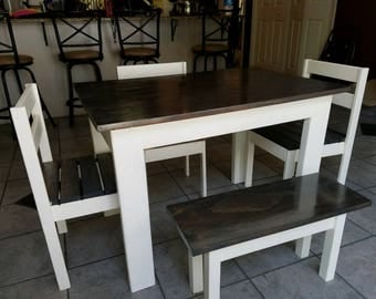 Farmhouse Style Table with Bench and chairs