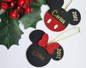 8cm Wooden Disney Minnie Mouse Christmas Tree Decoration Personalised Handmade Ornament Mickey Character