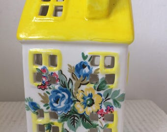 Handmade Cath Kidston  tealight house with its bright yellow roof and highgate rose flowers