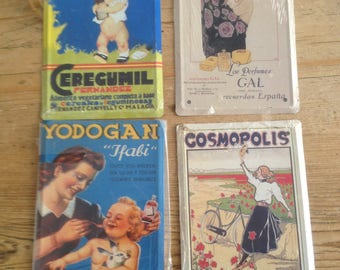 Set of 4 Reproduction Advertising Plaques on Tin Plate