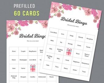 Bridal Shower Bingo Prefilled 60 Cards, Pink Floral, Printable Bingo Cards, Bridal Shower Games, Bachelorette Bingo Game, Wedding,  A005