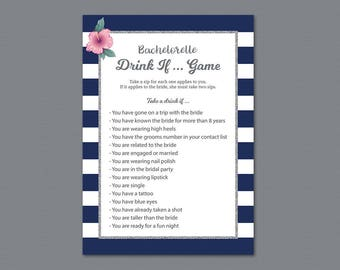 Bachelorette Drink If Game, Kate Spade Drinking Game, Silver Blue Stripes, Bridal Shower, Wedding Shower, Hen Party Game, Take a Sip, A019