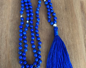 Hand Knotted Lapis Lazuli and Sterling Silver 'Zen' style Mala Necklace or Wrapped Bracelet