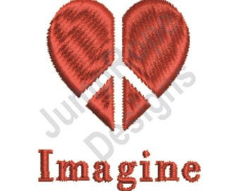 Peace Heart Imagine - Machine Embroidery Design