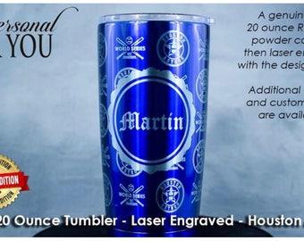 YETI 20oz Tumbler, Laser Engraved, Blue. Houston Astros Champions