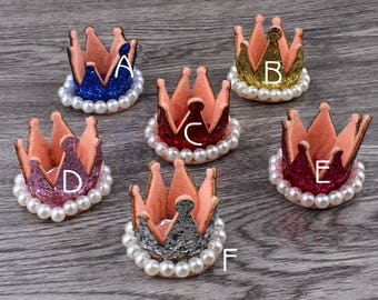 6colors 3D Felt Crown Flower For Kids Hair Accessories Glitter Non-woven Fabric Tiaras For Kids Girls Hair Ornaments