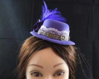 Purple Mini Top Hat Fascinator Steampunk