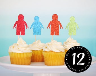 Lego Party Cupcake Toppers Lego Birthday Lego Cupcake Lego Bricks Party Bricks Party Lego Party Decorations Lego Friends Party Lego Man