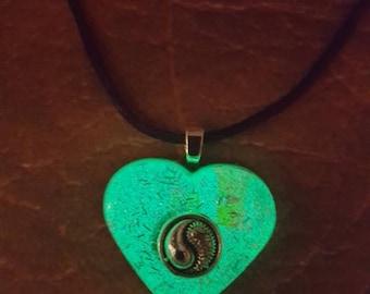 Pendant , heart resin, yin yang charm, Glow in the dark