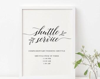 Wedding Shuttle Service Sign Template, Complimentary Shuttle Sign, Printable Wedding Shuttle Sign, Editable Shuttle Sign Wedding - KPC04_312
