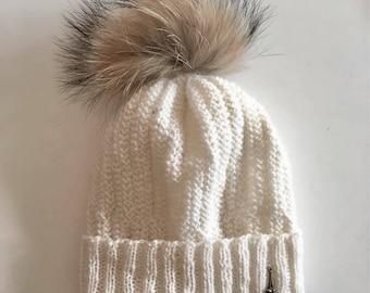 White alpaca wool hat