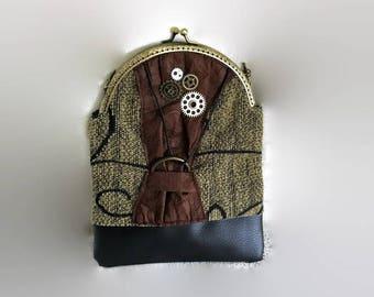 Vintage clutch, imitation leather, steampunk bag handmade, chain clutch, metal fastener chain bag, made in spain, women felt small handbag