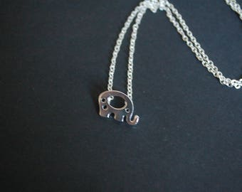 silver tone baby elephant necklace