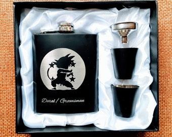 Dragon Ball Zee Anime Themed Flask //  Engraved Flask // His Gift  // Hip Flask for Men // 21st Birthday Gift // 7 oz