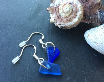 Colbalt seaglass earrings