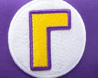 Waluigi Logo Patch 3 Inch Super Mario Brothers Embroidered Iron or Sew on Badge Applique Souvenir Retro DIY Costume Mario Kart Allstars Snes