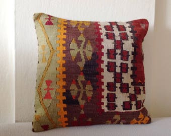 Turkish Cushions, Kilim Cushion, Pillow Cover Only, Oriental Rug Pillow,  Boho,