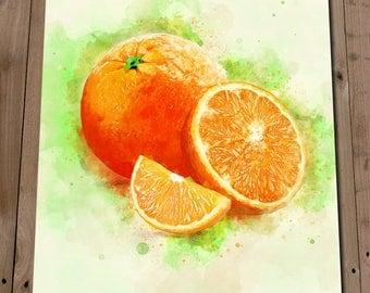 Orange Wall Art - Citrus Print - Orange Watercolour Painting - Kitchen Art - Citrus Fruits - Fruit Print - New Home Housewarming Gift