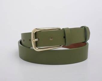 Leather Belt, Green Leather Belt, Light Green Leather Belt, Womens Belt