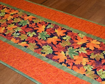 Fall Leaves Quilted Table Runner, Fall Table Runner, Quilted Table Runner, Autumn Runner, Fall Table Decor, Orange and Green Table Runner