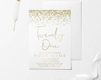 St Birthday Invitations Black Gold Glitter Twenty - 21st birthday invitations gold coast