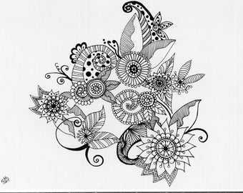 Henna Flower Doodle Colouring Page