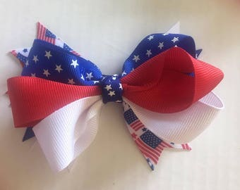 Fourth of July Hair Bow ~ 5 inches