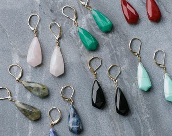 Natural Stone Earrings, Polished Semi Precious Stone Earrings, Blue,Pink,Green,Black,Red, Dangle earrings