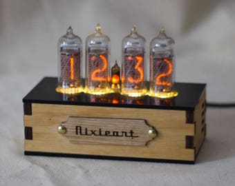 IN-14 Nixie Tube Clock - Nixie Clock with adapter and wood enclosure