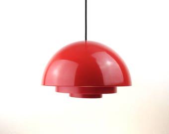 Red Milieu Pendant by Jo Hammerborg for Fog & Mørup, Denmark, 1970s