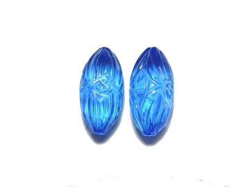 2 Pieces Very Beautiful Swiss Blue Quartz Hand Carved Rice Drops Shaped Loose Gemstone Size 18X9 MM