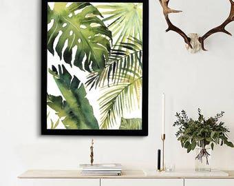 Tropical Leaves Print, Monstera Art, Kitchen Decor, Banana Palm Leaf Print, Printable Green Lush Artwork Wall Poster, Digital Download