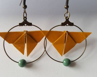 Mustard yellow origami earrings