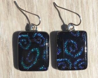 Dichroic Fused Glass Earrings - Aqua Blue Spiral Pattern on Black with Solid Sterling Silver Ear Wires