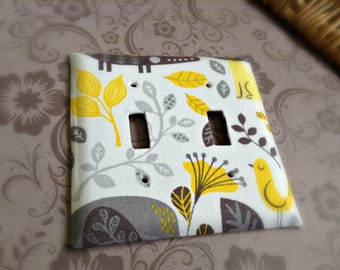 Fabric Covered Light Switch Plate - Neutral Nature - Neutral Baby Nursery Decor