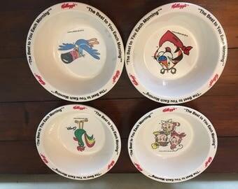 Vintage 1995 Kellogg's cereal bowls set of 4