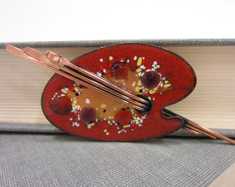 Matisse Renoir Colorful Enameled Artist's Palette Brooch With Paintbrushes