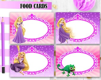 Pink Princess food cards Rapunzel Food cards Table cards Tangled Place Cards Printable digital food tents Table decor
