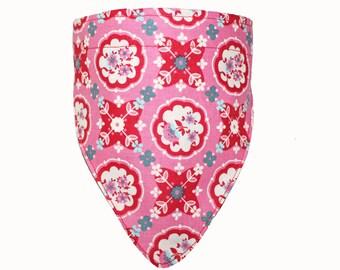 Dog Collar, Scarf, Bandana, Red, Pink, Flowers