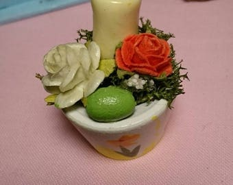 Miniature pot with candle roses and easter egg for Barbie dolhouse Easter decoration
