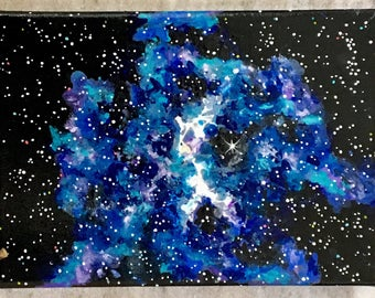 Art and collectibles Acrylic painting Mini Galaxy- in space stars nebula universe