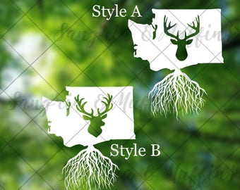 Washington State elk head with roots - car, window, laptop, tablet decal - pnw love, pnw pride, pnw decal, Washington State decal, WA Love