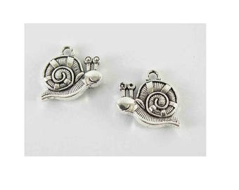 SET of 5 charms silver animal snail (E13)