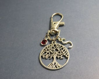 tree of life keychain - personalised tree of life keyring - porte clé arbre de la vie - initial letter - birthstone gift - mom's gift
