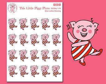 Ladies Dancing Planner Stickers - Dancing Stickers - Holiday Stickers - Dance Stickers - Christmas Dance - 9 Ladies Dancing - [Holiday 1-24]