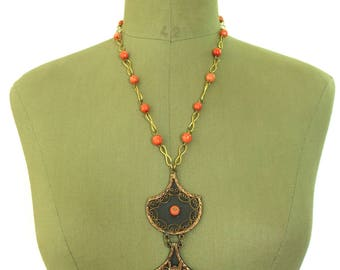 Vintage Copper Tribal Mexican Aztec Mayan Necklace