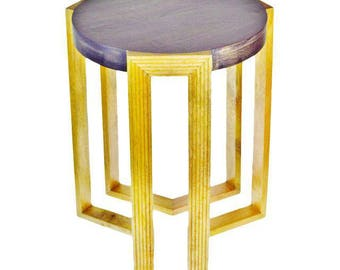 Art Deco Style Geometric Design Solid Mango Wood Side Table