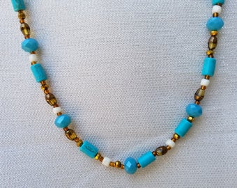Turquoise and Copper Sparkle Bead Neclace