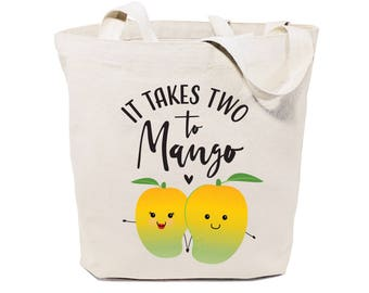 Cotton Canvas It Takes Two to Mango Reusable Grocery Bag and Farmers Market Tote Bag, Food Pun, Shopping, Cute Funny Gifts, Valentine's Day