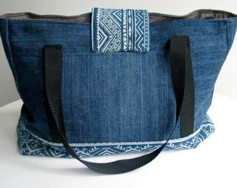 Handbag / Shoulder bag, denim - big and open, made from all UP CYCLED materials